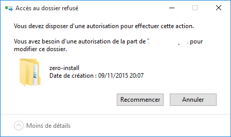 Windows 10 : Impossible de supprimer un dossier
