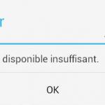 Espace insuffisant pour installer une application
