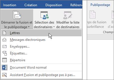 Fusion et publipostage à l'aide d'une feuille de calcul Excel